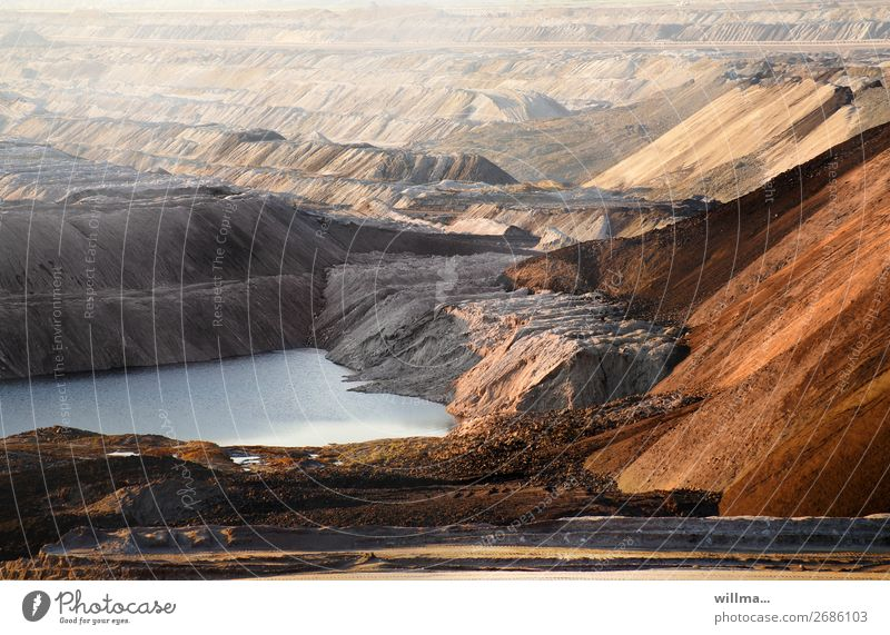open pit lignite mine with spoil heaps Workplace Energy industry Energy crisis Environment Landscape Climate change Lake Gloomy Bizarre Emphasis