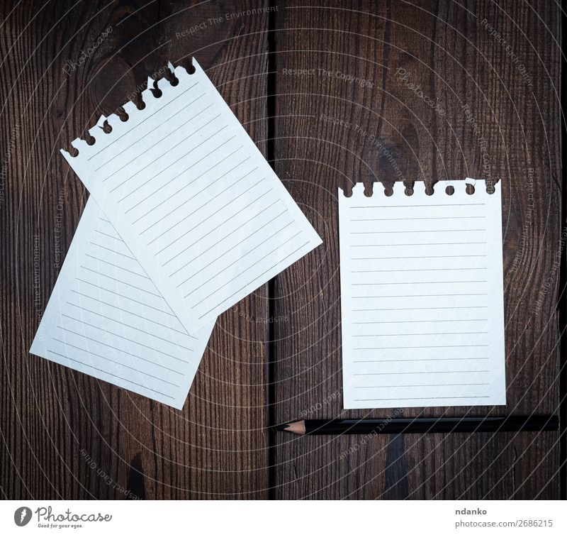 empty white sheets in a line torn out of notepad Table School Office Business Paper Pen Wood Write Clean Brown White Idea post angle background Blank