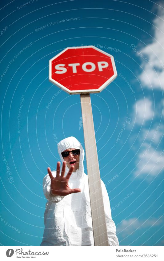 #AS# stop stop, now I'm talking! Human being Masculine Young man Youth (Young adults) Judicious Stop Stop sign White Costume Hand Stay Demonstration Aggression