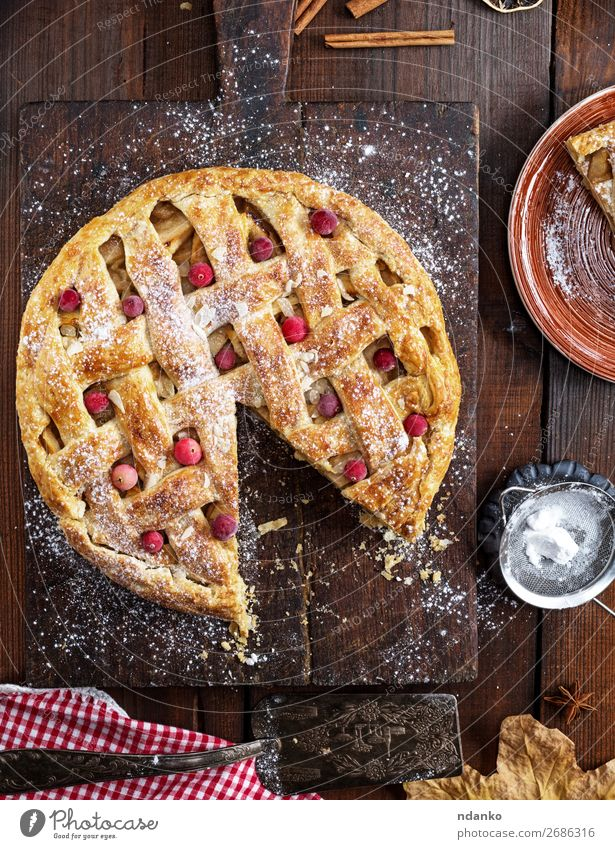 baked whole round apple pie Eating Wood Autumn Brown Fruit Above Fresh Table Cooking Delicious Kitchen Baked goods Cake Tradition Dessert
