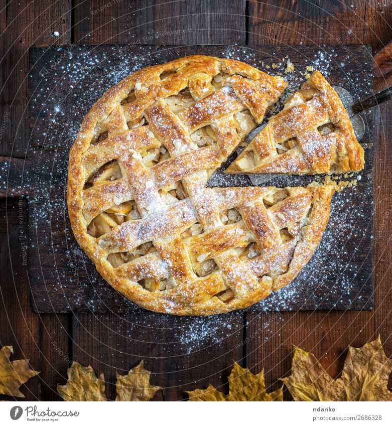 baked whole round apple pie White Wood Autumn Brown Fruit Above Fresh Vantage point Table Cooking Delicious Kitchen Baked goods Cake Tradition Dessert