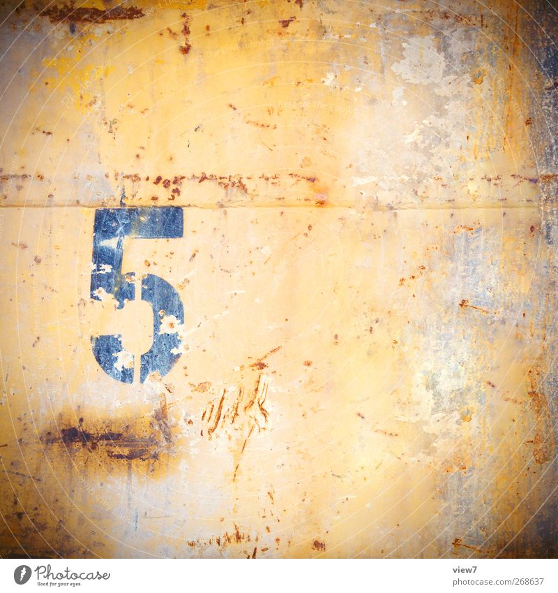 5 Metal Rust Sign Digits and numbers Old Authentic Simple Yellow Beginning Esthetic Design End Colour Arrangement Pure Decline Past Transience Change Time