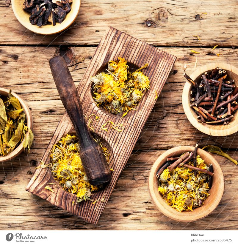 medicinal herbs and plants herbal medicine natural flower alternative healthy treatment aroma aromatherapy vintage pestle wooden spa ingredient medical aromatic