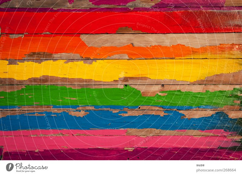 Blue Old Green Red Yellow Wall (building) Graffiti Wood Happy Line Orange Happiness Stripe Painting (action, work) Simple Creativity