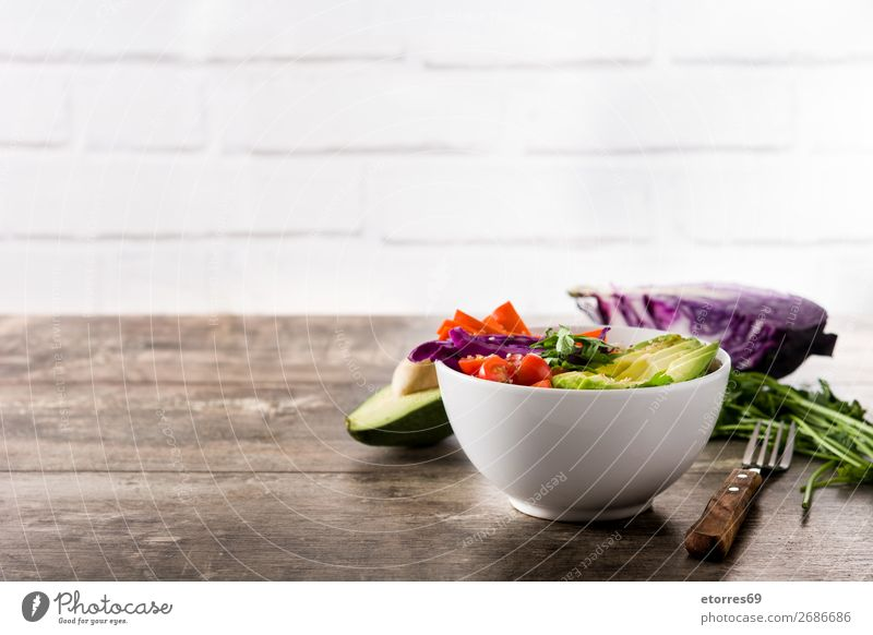 Vegan Buddha bowl with fresh raw vegetables and quinoa buddha bowl Bowl Vegetable Avocado Onion Tomato Carrot Cabbage Food Healthy Eating Food photograph Raw