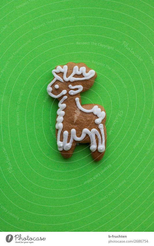 Reindeer to bite on Food Dough Baked goods Candy Feasts & Celebrations Christmas & Advent Paper Lie Delicious Crazy Sweet Trashy Green To enjoy cookie cutter