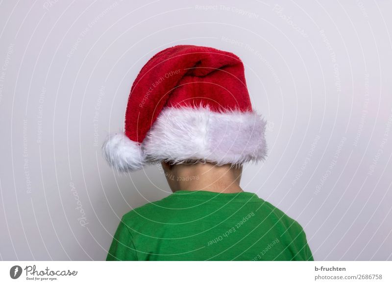 No, not today! Christmas & Advent Child Head Back 1 Human being T-shirt Cap Stand Dirty Dark Green Red Boredom Reluctance Santa Claus hat Looking away