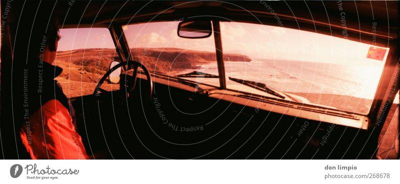 Peter Santana Trip Man Adults 1 Human being Landscape Beautiful weather Rock Coast Island Fuerteventura Vintage car Offroad vehicle Observe Discover Pink Moody