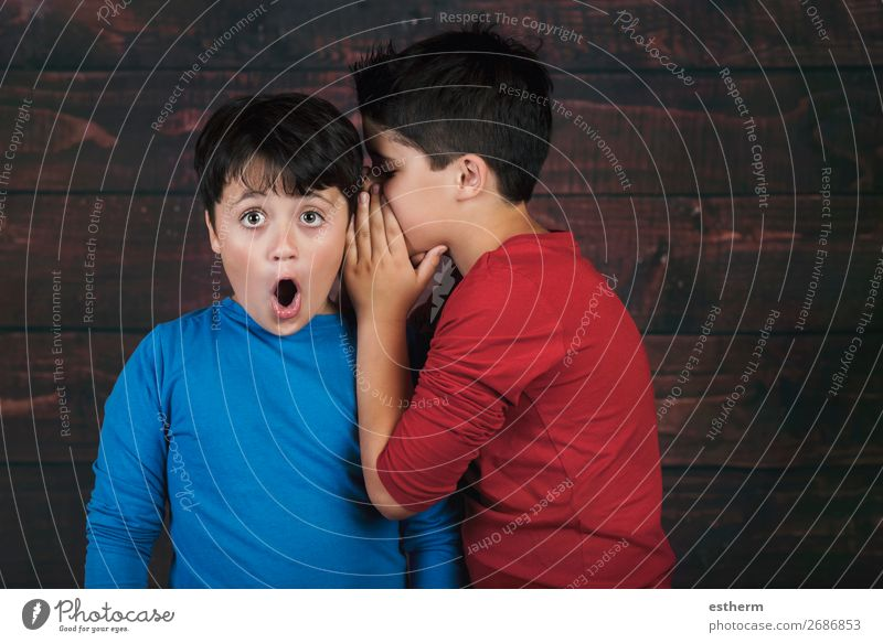 Portrait of two boys whispering secret Lifestyle To talk Human being Masculine Child Boy (child) Brothers and sisters Friendship Infancy 2 8 - 13 years Movement