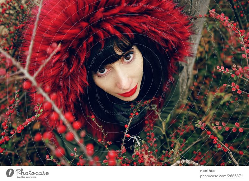 beautiful young brunette woman in red nature Lifestyle Style Beautiful Face Wellness Winter Human being Feminine Young woman Youth (Young adults) Woman Adults 1