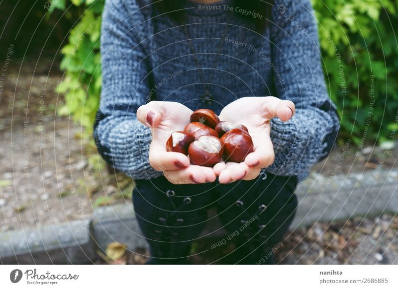 Close up of chestnuts on a young woman hands Woman Human being Nature Youth (Young adults) Beautiful Hand Relaxation Calm 18 - 30 years Food Lifestyle Adults