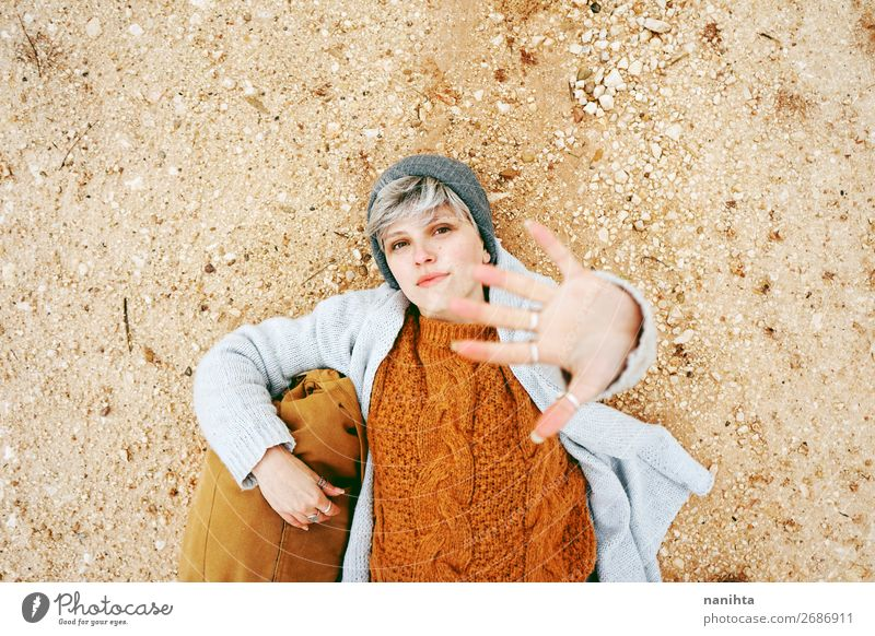 An adventurer young caucasian woman Woman Human being Vacation & Travel Nature Youth (Young adults) Young woman Colour Beautiful Hand Relaxation Calm Joy