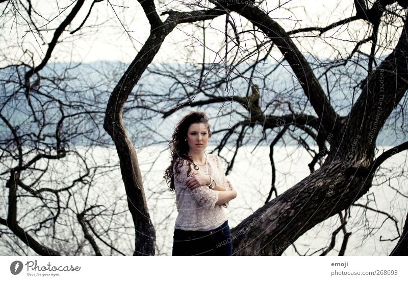 Nature Youth (Young adults) Beautiful Tree Loneliness Adults Environment Cold Feminine Autumn Young woman 18 - 30 years Gloomy Branch Individual Bad weather