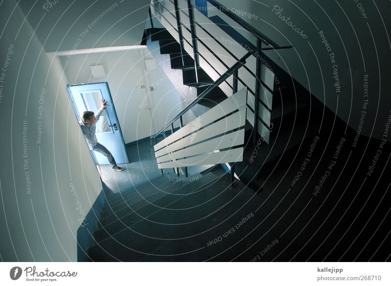 Hello? Lifestyle Human being Masculine Man Adults 1 House (Residential Structure) Stairs Door Looking Stand Illuminate Living or residing Staircase (Hallway)