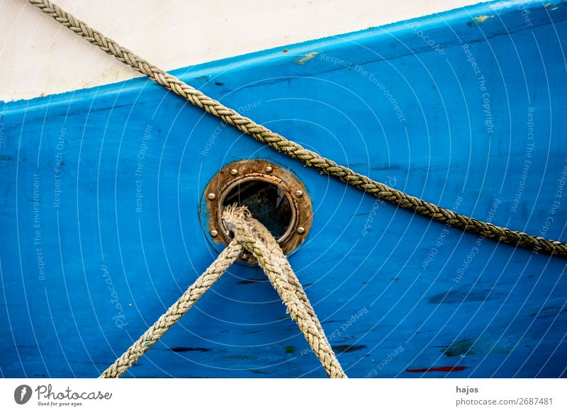 porthole with mooring lines Design Maritime Blue White Porthole ship's side white and blue blue-white I know. fishing cutter Old Picturesque colourful