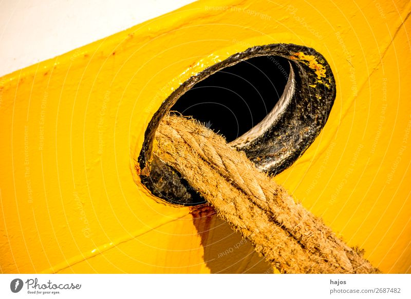 porthole with mooring lines Design Transport Means of transport Navigation Fishing boat Maritime Yellow Porthole White fishing cutter Rich in contrast bun