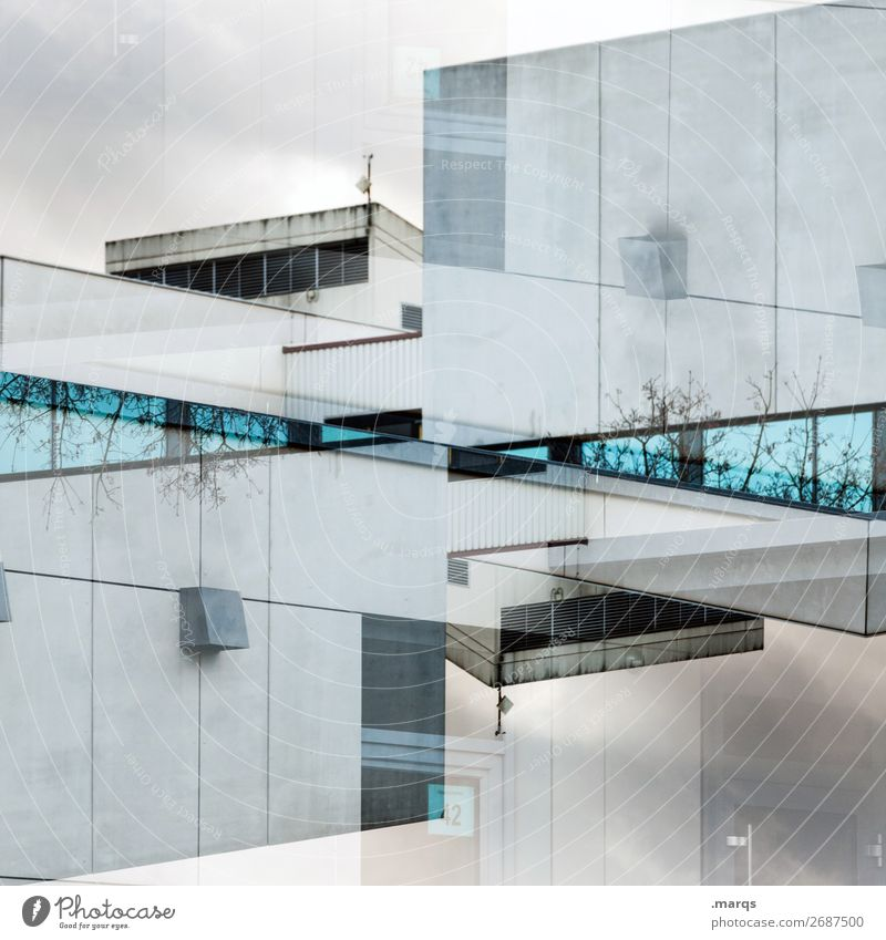 :| Manmade structures Building Architecture Facade Window Flat roof Looking Exceptional Modern Crazy Blue Gray Esthetic Perspective Whimsical Real estate market