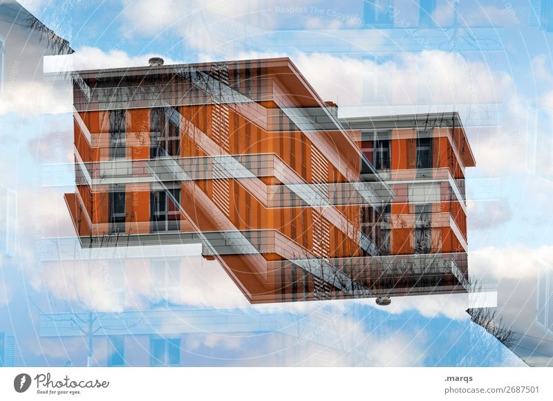 House (detached) Lifestyle House (Residential Structure) Sky Clouds Manmade structures Building Architecture Facade Exceptional Modern Orange Red Perspective