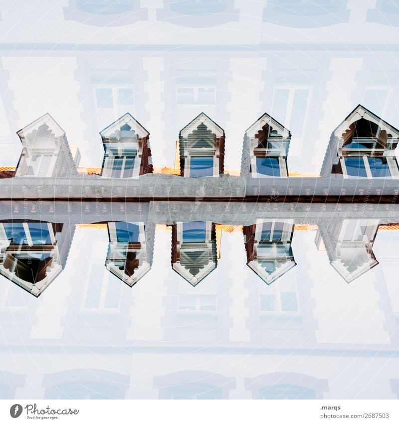 Mirroring (illogical) Style Living or residing House (Residential Structure) Manmade structures Architecture Window Roof Exceptional Uniqueness Crazy