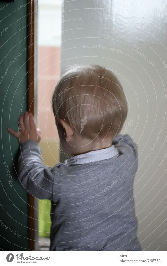 Human being Child Life Boy (child) Door Flat (apartment) Blonde Infancy Adventure Living or residing Observe Curiosity Touch Toddler Discover Interest
