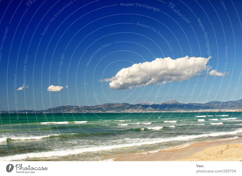 Experience the sea Vacation & Travel Summer vacation Beach Island Waves Nature Landscape Sand Air Water Sky Clouds Beautiful weather Hill Mountain Coast Ocean