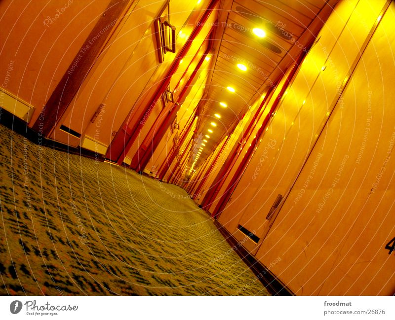 Loneliness Yellow Lamp Watercraft Lie Door Crazy Perspective Europe Floor covering Deep Navigation Diagonal Hallway Alcohol-fueled Orientation