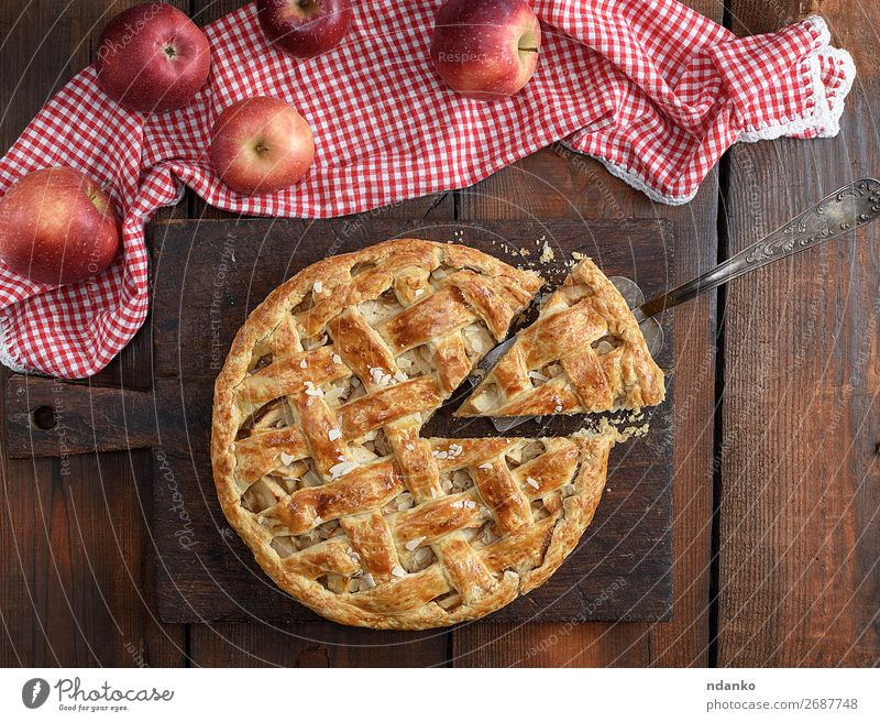 baked traditional fruit cake on a brown wooden board Fruit Apple Cake Dessert Candy Lunch Table Autumn Wood Fresh Delicious Natural Brown Gold White Tradition