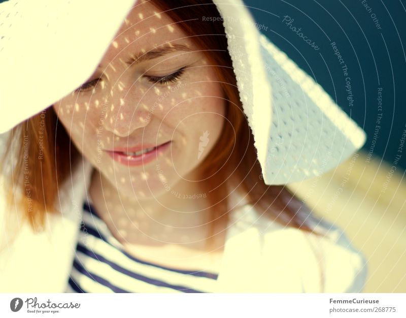 Favorite picture. Feminine Young woman Youth (Young adults) Woman Adults Head Hair and hairstyles Face 1 Human being Relaxation Style Sunhat Sunlight Summer