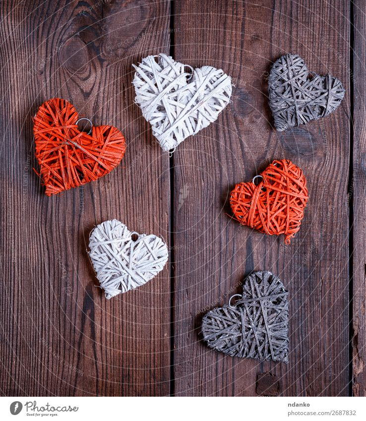 wicker small hearts, close up Old Christmas & Advent White Red Wood Love Feasts & Celebrations Brown Design Decoration Retro Heart Creativity Gift Romance