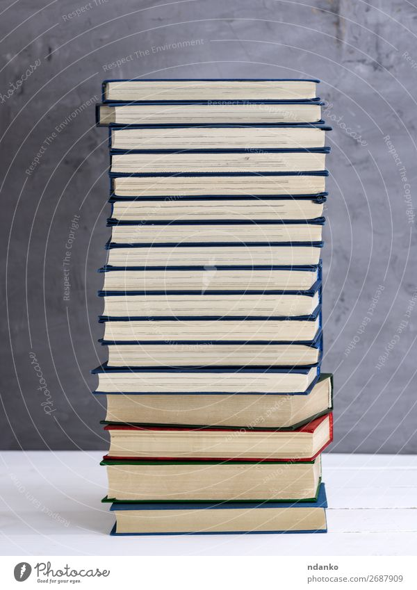 stack of books in a blue cover Lifestyle Reading Science & Research School Academic studies Book Library Paper Collection Old Blue Gray White Wisdom literary