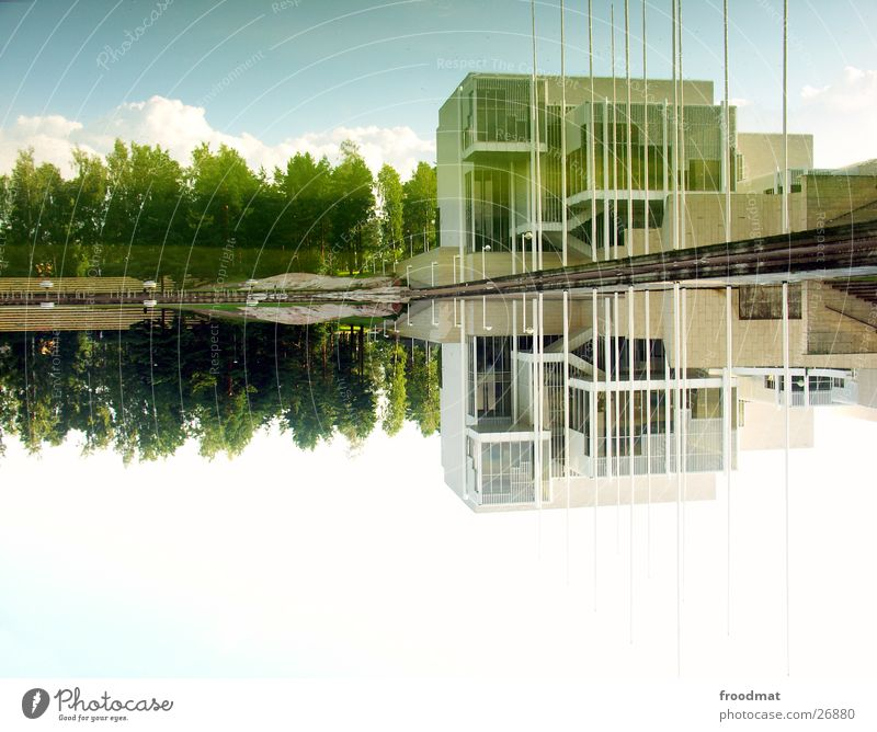 180° Helsinki Finland White Reflection Rotated Tree Clouds Architecture huh Water Smoothness Sky