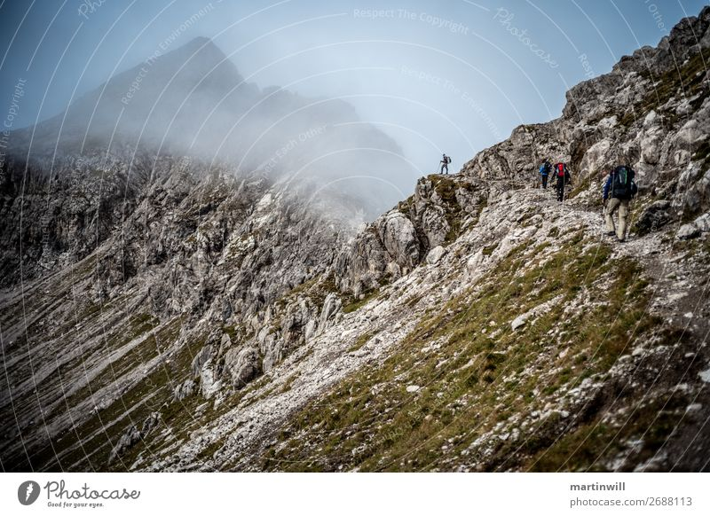 Hiker enjoys view in the fog in the Lechtaler Alps Vacation & Travel Trip Adventure Mountain Hiking Climbing Mountaineering Human being Nature Landscape Autumn