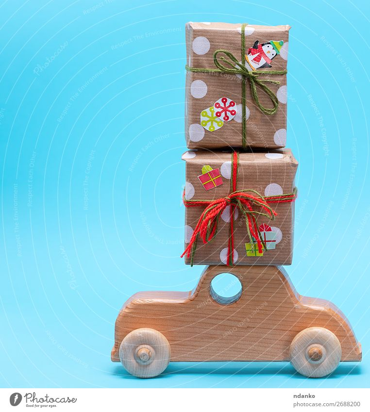 wooden children's machine carries gifts Christmas & Advent Blue Red Wood Feasts & Celebrations Decoration Car Retro Gift Shopping Paper Idea New Seasons Card