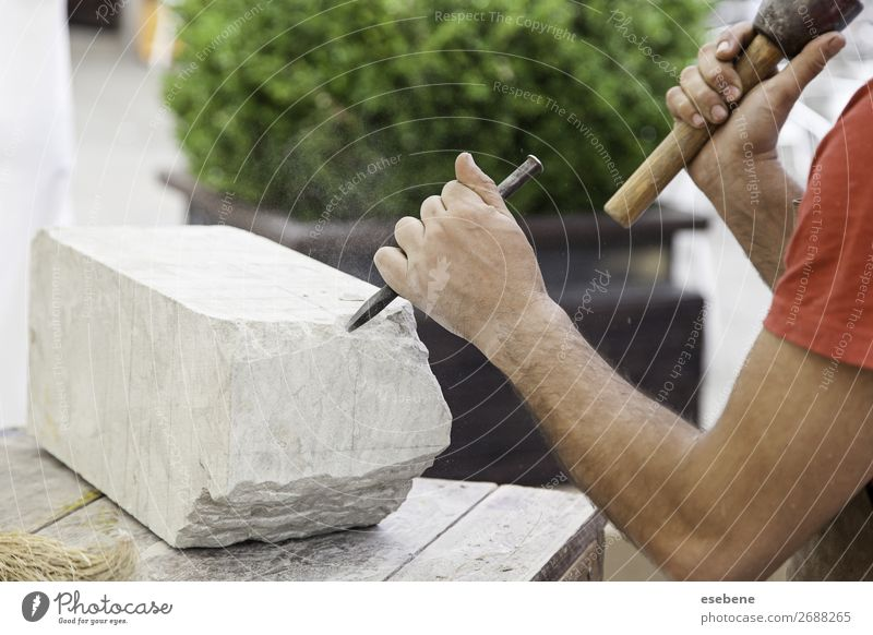 Carving stone Shopping Work and employment Profession Craft (trade) Business Tool Hammer Human being Man Adults Hand Art Stone Creativity Tradition chisel