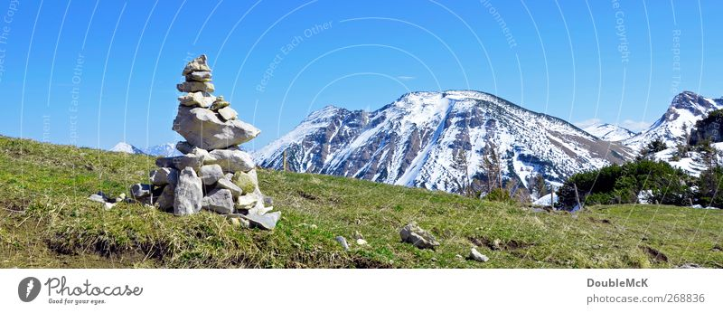 Nature Blue White Green Vacation & Travel Sun Far-off places Landscape Meadow Snow Mountain Spring Freedom Stone Leisure and hobbies Natural