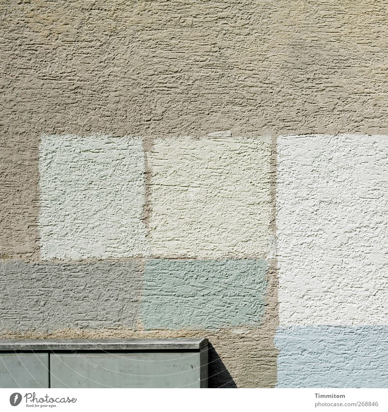 May - the month for us optimists. Living or residing House (Residential Structure) Wall (barrier) Wall (building) Metal Gray Black White Arrangement Plaster