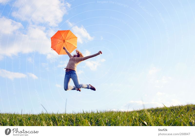 sunny jump Relaxation Freedom Human being Young woman Youth (Young adults) Woman Adults Life 1 18 - 30 years Environment Nature Air Sky Clouds Sunlight Spring