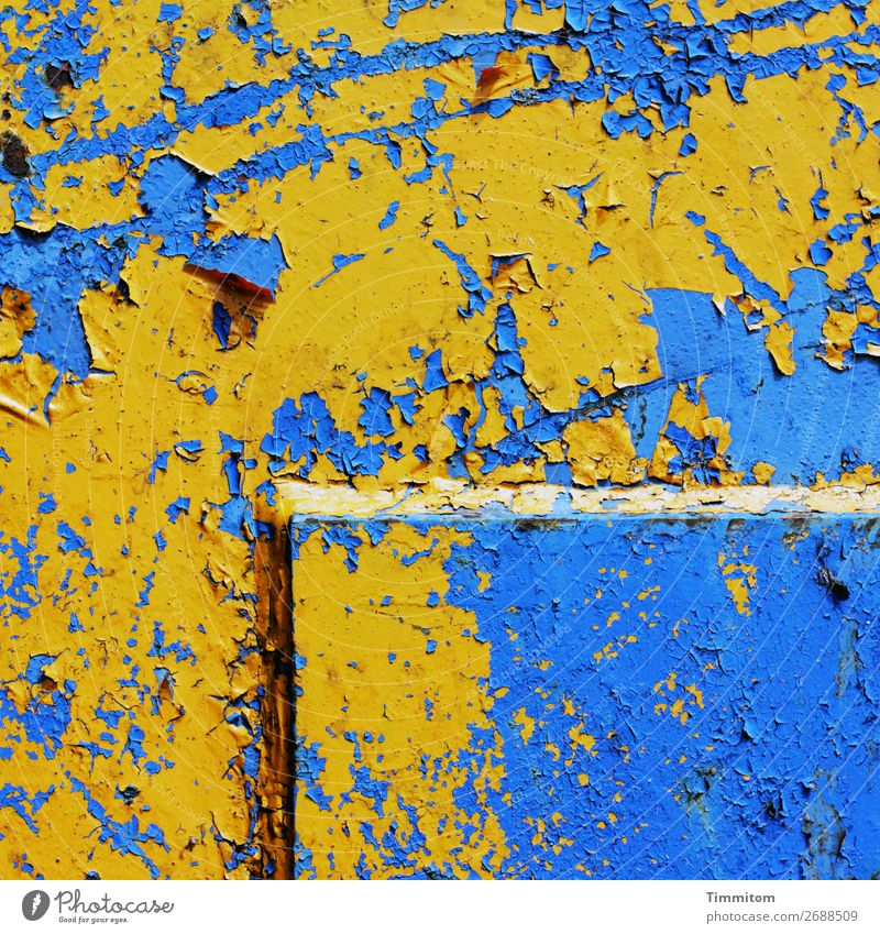 yellow on blue Machinery Technology Metal Line Old Blue Yellow Emotions Transience Scratch mark Colour photo Exterior shot Deserted Day