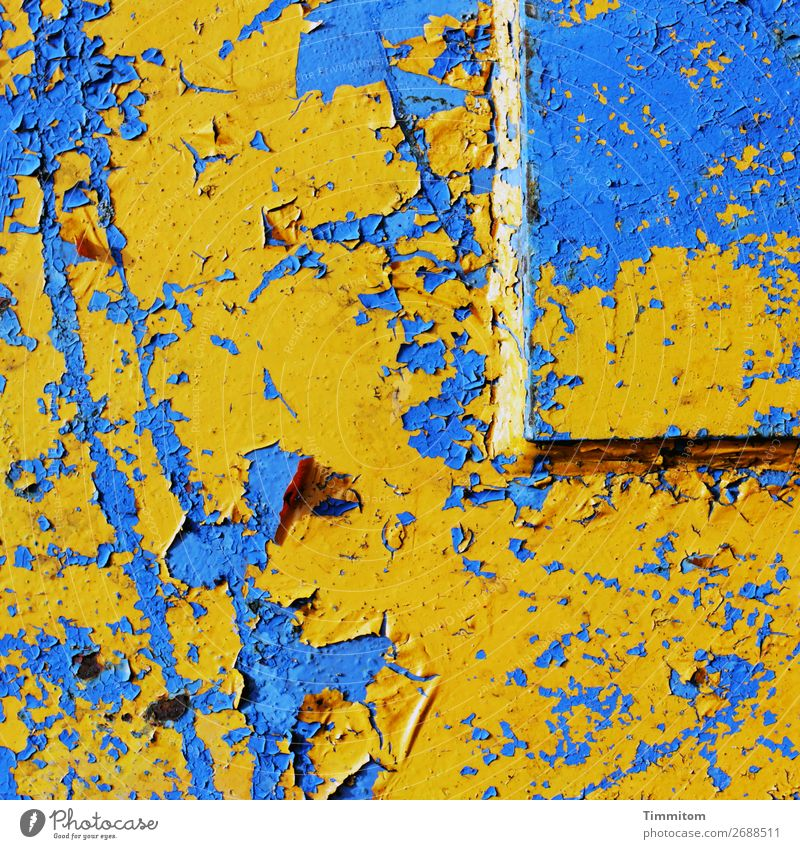 Good morning! Good morning! Machinery Technology Metal Line Esthetic Blue Yellow Emotions Flashy Scratch mark Varnish Flake off Colour photo Exterior shot
