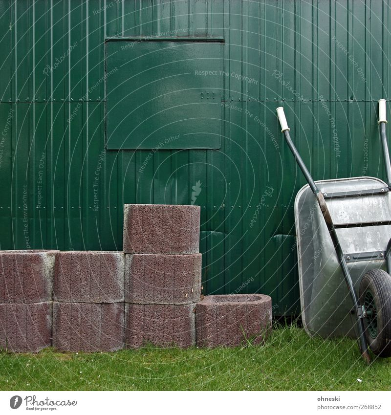 picture composition Hut Facade Window Site trailer Wheelbarrow Tub Stone Work and employment Break Colour photo Exterior shot Pattern Structures and shapes