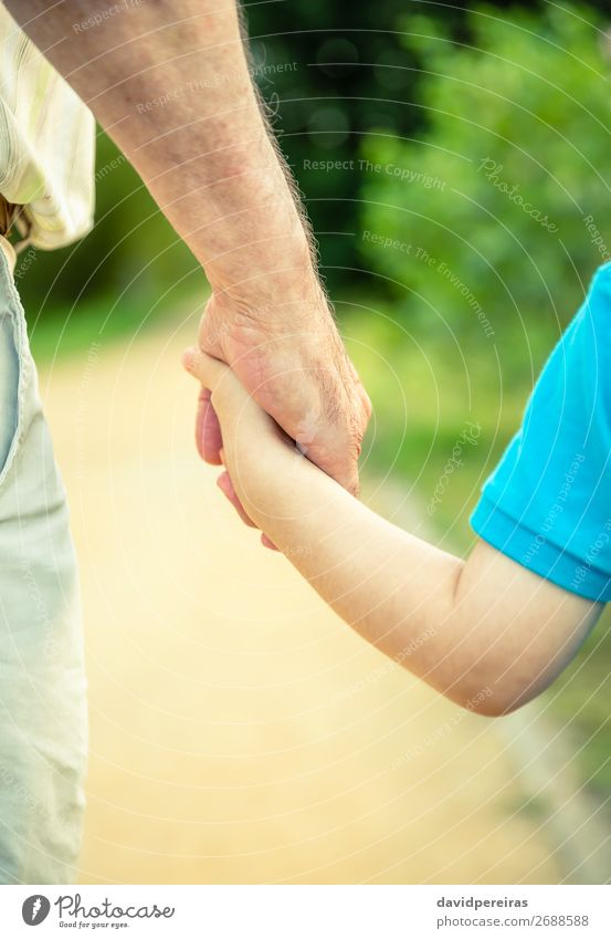 Back view of child and senior man holding hand Skin Life Child Human being Baby Boy (child) Man Adults Parents Father Grandfather Family & Relations Hand