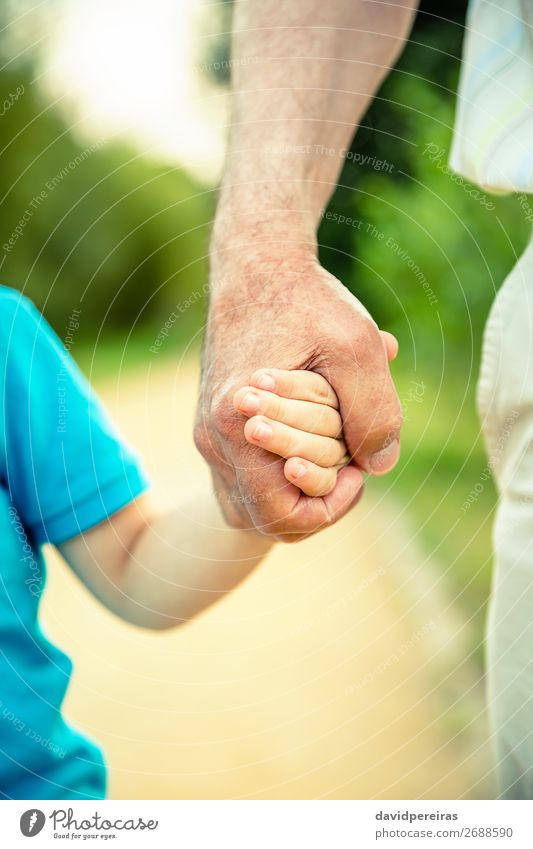 Child holding hand of senior man in the nature Skin Life Retirement Human being Baby Boy (child) Man Adults Parents Father Grandfather Family & Relations Hand