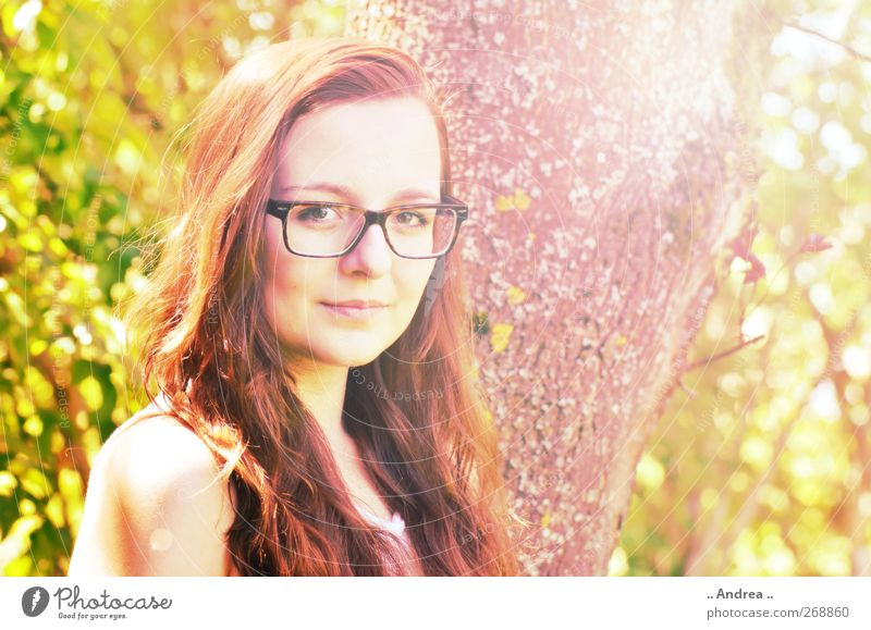 eye contact Feminine Young woman Youth (Young adults) 1 Human being Uniqueness Hair colour Red-haired Eyeglasses Person wearing glasses Spectacle frame