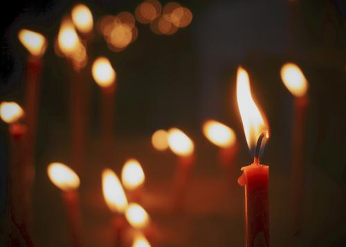 ignis Candle Candlelight Candle flame Glittering Illuminate Small Near Many Calm Hope Belief Humble Eternity Religion and faith Glint Candlewick Prayer Church