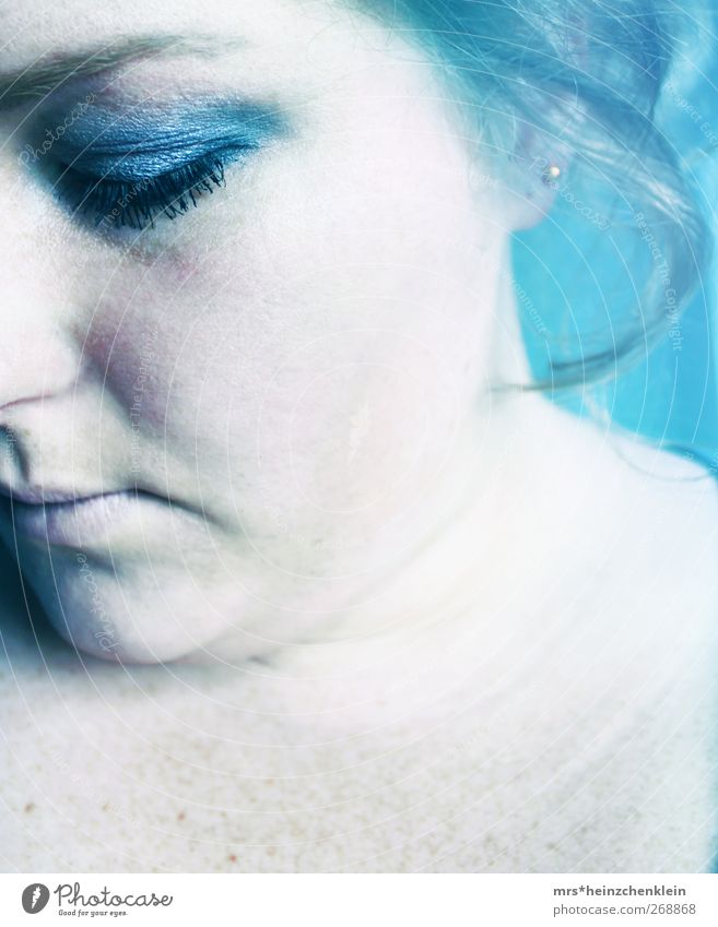 Human being Woman Youth (Young adults) Blue Water White Black Adults Face Eyes Cold Feminine Emotions Gray Head Sadness