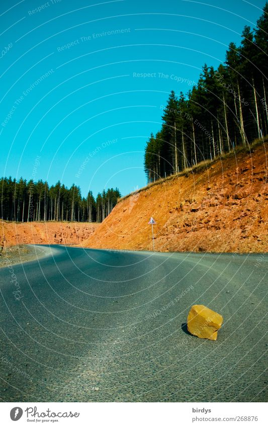 Road with obstacles Nature Landscape Cloudless sky Summer Beautiful weather Coniferous forest Rock Street Lie Threat Original Blue Yellow Gray Risk