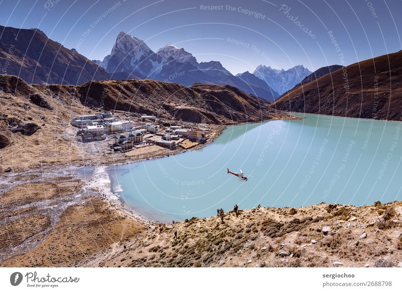 heli upon Gokyo Vacation & Travel Tourism Trip Adventure Far-off places Freedom Sightseeing Expedition Summer Mountain Hiking Hill Rock Himalayas Peak