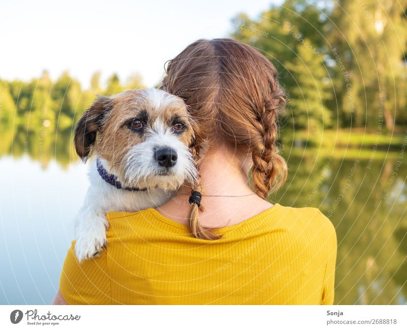 Human being Dog Youth (Young adults) Young woman Summer Beautiful Animal 18 - 30 years Lifestyle Adults Love Natural Feminine Together Friendship