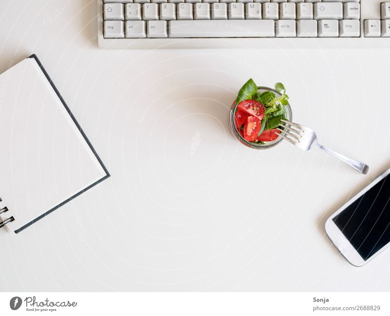 Lunch break with salad at your desk Food Vegetable Lettuce Salad Diet Crockery Fork Office work Business Work and employment Orderliness Healthy Colour photo