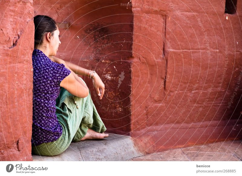 Human being Woman Red Summer Loneliness Relaxation Window Wall (building) Wall (barrier) Sadness Young woman Sit Meditative Balcony Hide Distress